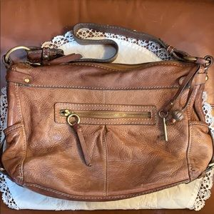 Vintage Fossil brown leather purse w/ brass detail